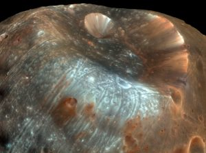 Stickney Crater on the             Martian moon Phobos.